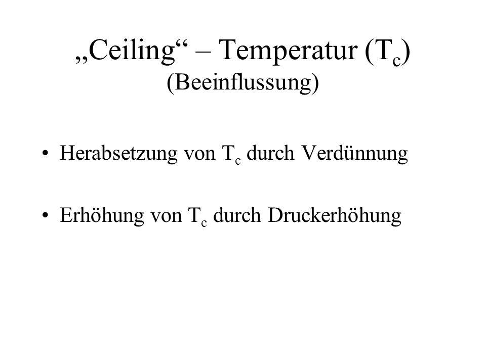 Ceiling – Temperatur (T c ) (Beeinflussung) Herabsetzung von T c durch Verdünnung Erhöhung von T c durch Druckerhöhung