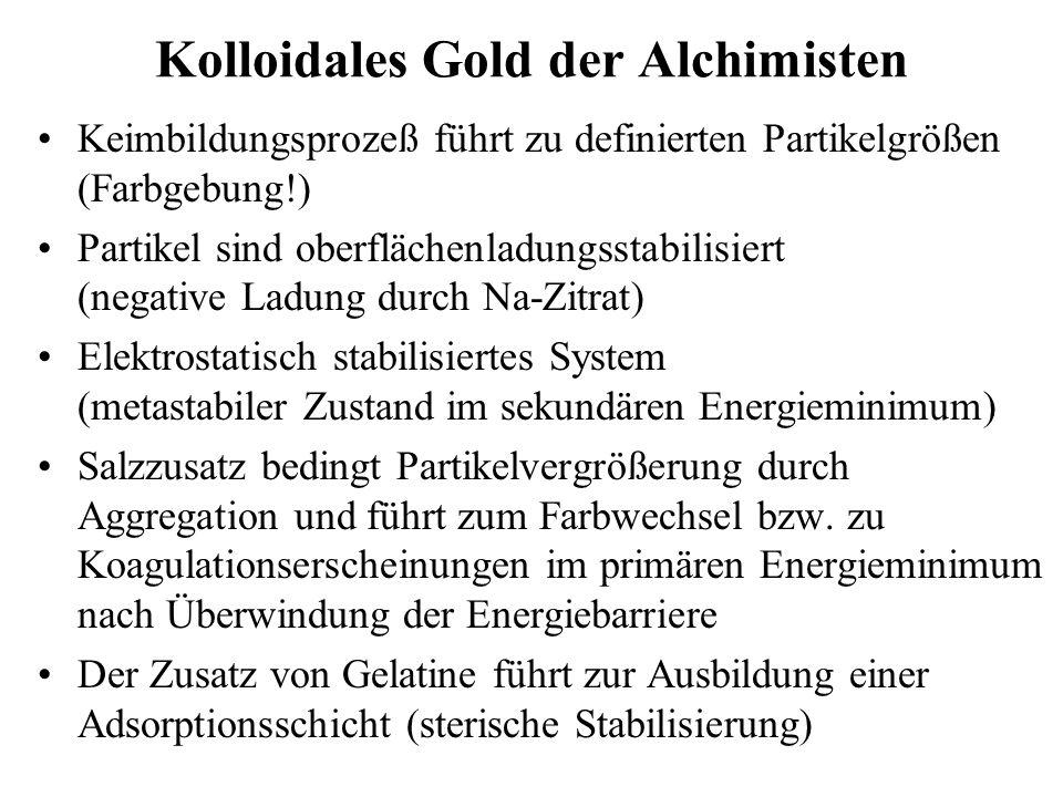 Kolloidales Gold der Alchimisten Keimbildungsprozeß führt zu definierten Partikelgrößen (Farbgebung!) Partikel sind oberflächenladungsstabilisiert (ne