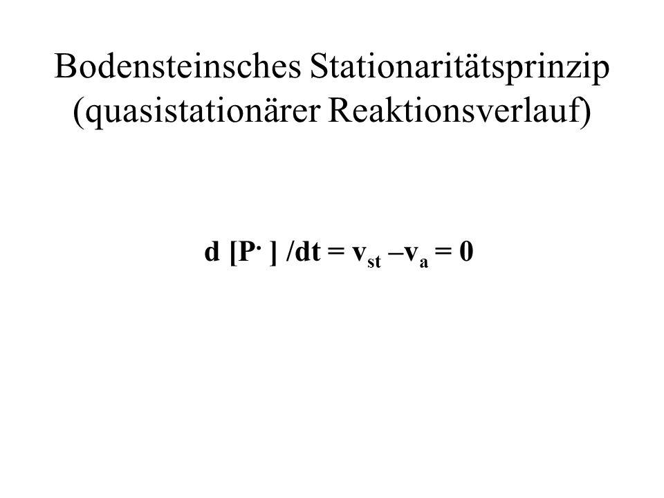 Bodensteinsches Stationaritätsprinzip (quasistationärer Reaktionsverlauf) d [P. ] /dt = v st –v a = 0