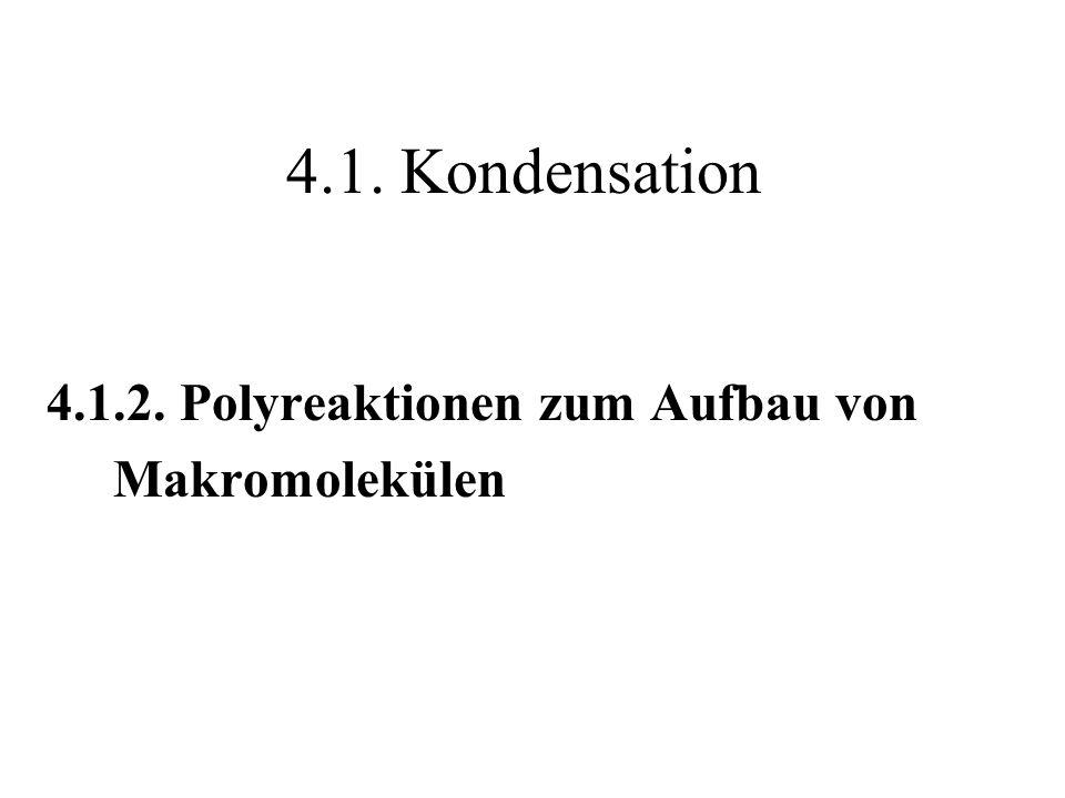Schema einer Polykondensationsreaktion Jeder einzelne Verknüpfungsschritt wird katalysiert M + K [M-K] [M-K] + n M [(M) n -M-K] [(M) n -M-K] [(M) n -M] + K M = Monomer ; K = Katalysatormolekül
