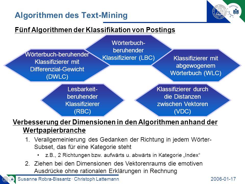 Susanne Robra-Bissantz · Christoph Lattemann2006-01-17 Algorithmen des Text-Mining Fünf Algorithmen der Klassifikation von Postings Verbesserung der Dimensionen in den Algorithmen anhand der Wertpapierbranche 1.Verallgemeinierung des Gedanken der Richtung in jedem Wörter- Subset, das für eine Kategorie steht z.B., 2 Richtungen bzw.