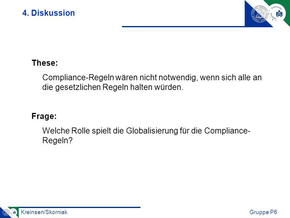 Kreinsen/SkorniakGruppe P6 These: Compliance-Regeln wären nicht notwendig, wenn sich alle an die gesetzlichen Regeln halten würden. Frage: Welche Roll