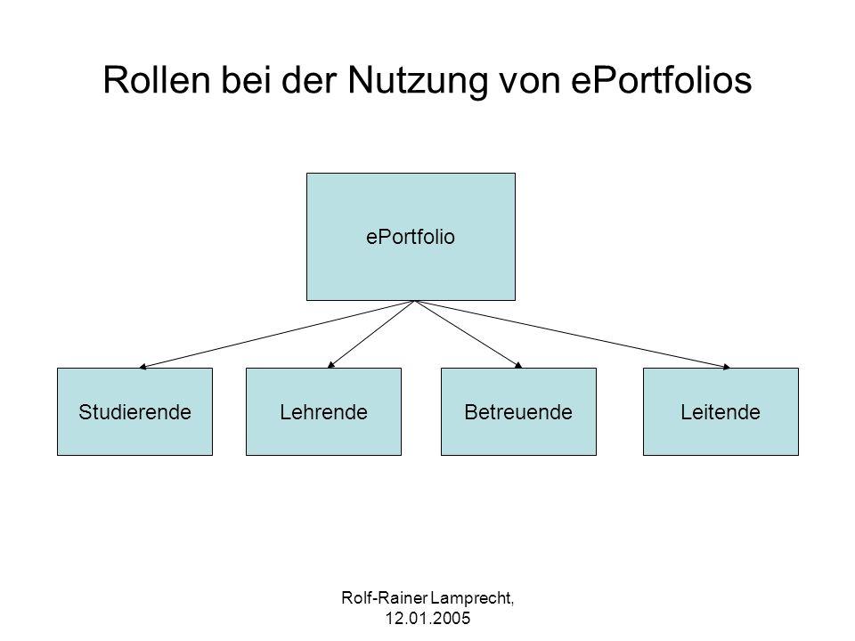 Rolf-Rainer Lamprecht, 12.01.2005 Rollen bei der Nutzung von ePortfolios ePortfolio StudierendeLehrendeBetreuendeLeitende