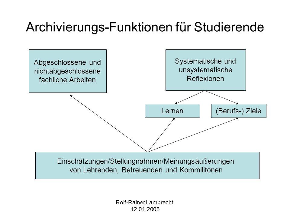 Rolf-Rainer Lamprecht, 12.01.2005 Archivierungs-Funktionen für Studierende Abgeschlossene und nichtabgeschlossene fachliche Arbeiten Systematische und