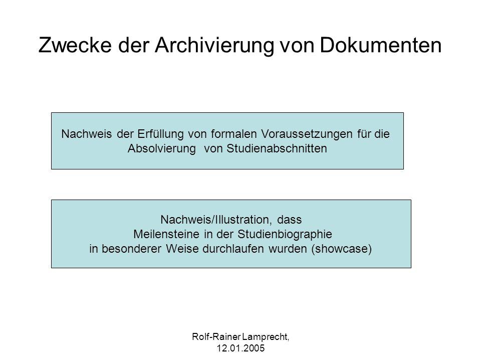 Rolf-Rainer Lamprecht, 12.01.2005 Zwecke der Archivierung von Dokumenten Nachweis/Illustration, dass Meilensteine in der Studienbiographie in besonder