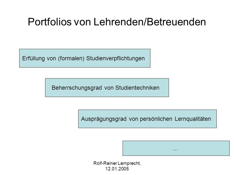Rolf-Rainer Lamprecht, 12.01.2005 Portfolios von Lehrenden/Betreuenden Erfüllung von (formalen) Studienverpflichtungen Beherrschungsgrad von Studiente