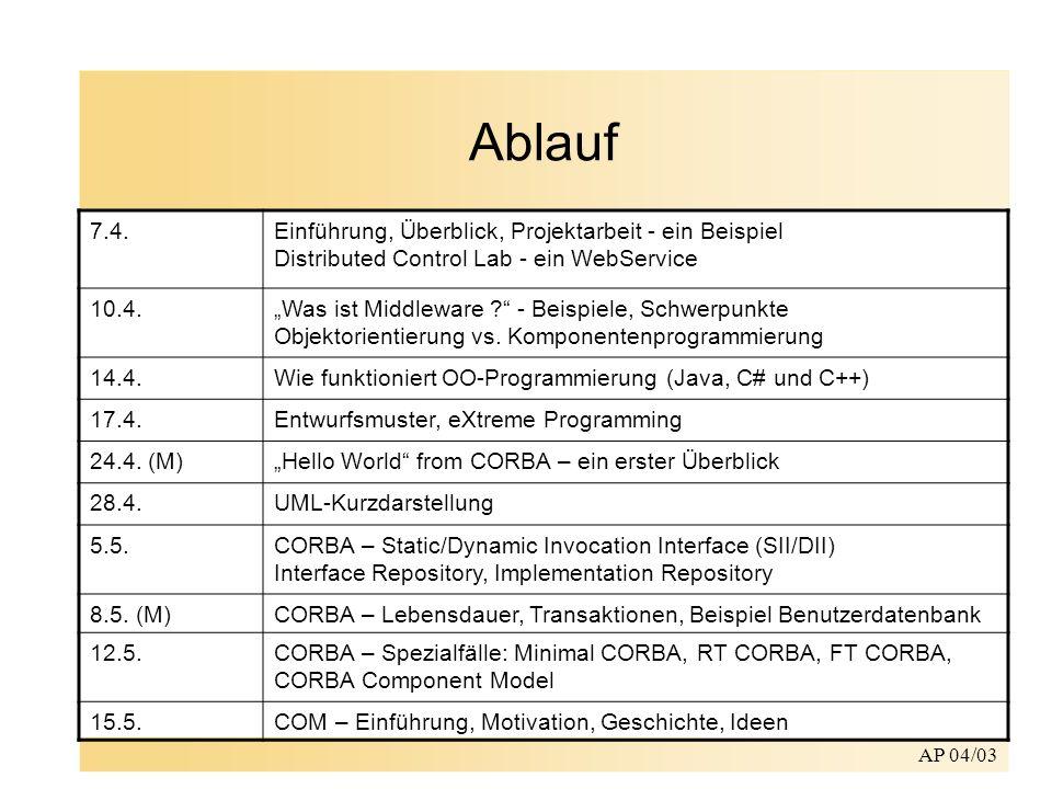 AP 04/03 Ablauf (contd.) 19.5.COM in Aktion, Stackcomponent 22.5.COM-Sicherheit / Fehlerbehandlung 26.5.COM und CORBA im Vergleich; Neues im.NET Framework 29.5.- Projektvortrag - 2.6.Das JavaBeans-Komponentenmodell; WebServices - WebObjects 5.6.- Projektvortrag - 9.6.Autonomous Computing – Paradigmen für WebServices, EJB, CCM 12.6.- Projektvortrag - 16.6..NET-WebServices (ASP.NET); Standards: UDDI/SOAP/WSDL/XML; WS-I.org (WebServices Integration) 19.6.- Projektvortrag - 23.6.Komponentenprogrammierung mit C# und.NET