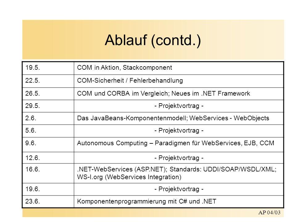 AP 04/03 Ablauf (contd.) Projekt: –Implementation einer Autovermietung als Komponentensystem –Implementation eines erweiterbaren Taschenrechners (stack, Formeln, etc.) –CORBA, COM+, EJB/WebObjects,.NET,.NET CompactFramework 26.6.- Projektvortrag - 30.6.Aspektorientierung – nichtfunktionale Komponenteneigenschaften 3.7.- Projektvortrag - 7.7.Dienstgüteeigenschaften in Middleware-basierten Systemen 10.7.- Projektvortrag - 14.7.Graphische Werkzeuge zur Komponentenprogrammierung: NeXT Interface Builder / Visual Studio.NET / WebObjectsBuilder 17.7.Ausklang, Fragen, Konsultationen