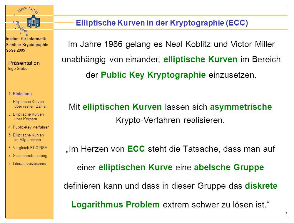 Institut für Informatik Seminar Kryptographie SoSe 2005 Präsentation Ingo Grebe 34 Ordnung #E(F P ) Die Anzahl der Punkte einer elliptischen Kurve E(F P ) heißt auch Ordnung #E(F P ).