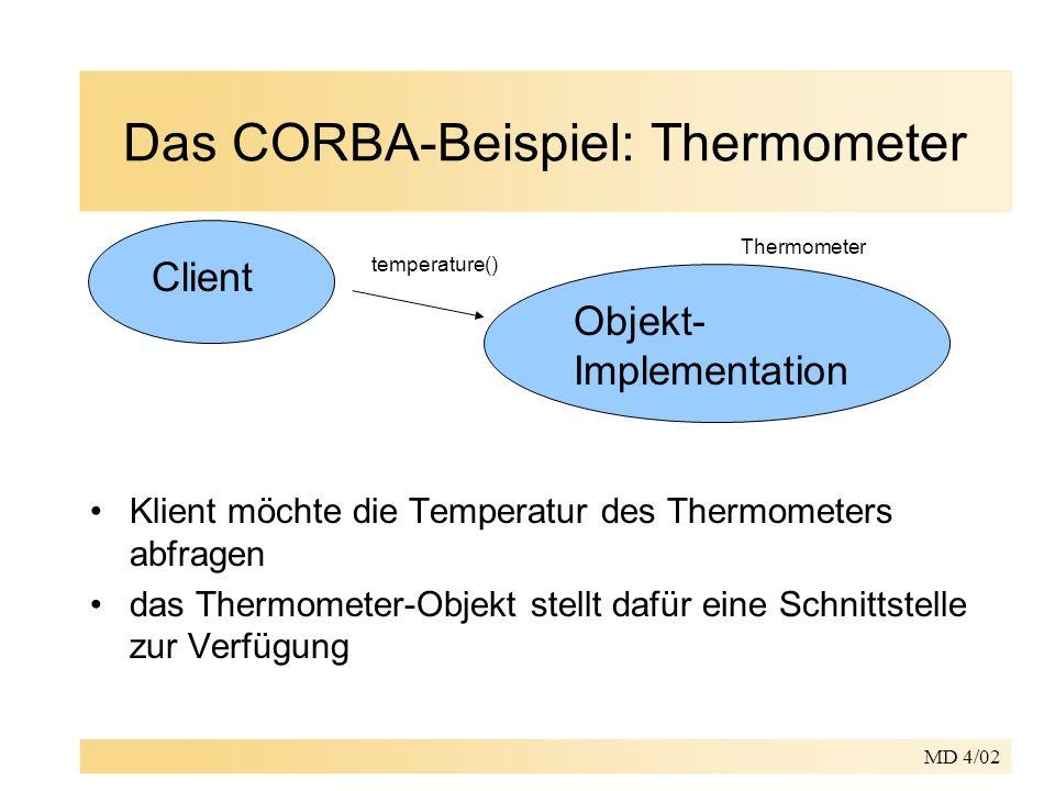 MD 4/02 Das CORBA-Beispiel: Thermometer Klient möchte die Temperatur des Thermometers abfragen das Thermometer-Objekt stellt dafür eine Schnittstelle zur Verfügung Client Objekt- Implementation temperature() Thermometer