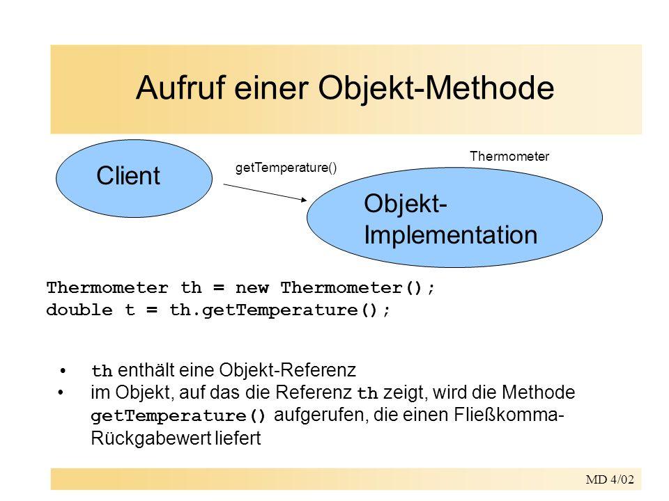 MD 4/02 Aufruf einer Objekt-Methode Client Objekt- Implementation getTemperature() Thermometer th = new Thermometer(); double t = th.getTemperature(); th enthält eine Objekt-Referenz im Objekt, auf das die Referenz th zeigt, wird die Methode getTemperature() aufgerufen, die einen Fließkomma- Rückgabewert liefert Thermometer