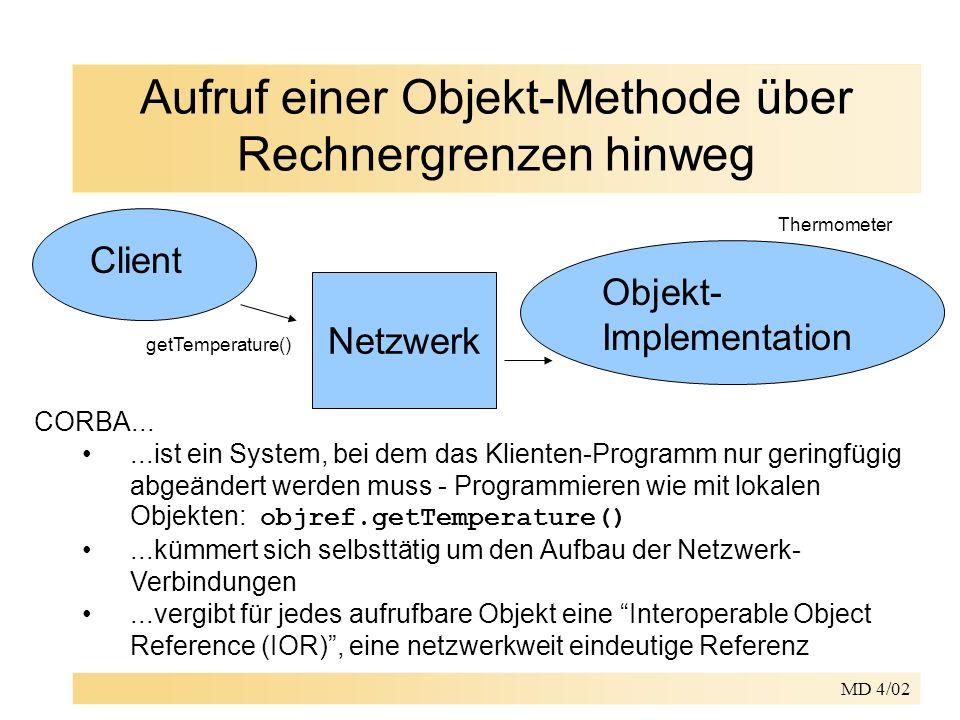 MD 4/02 Portable Object Adapter (POA) für den Server-Teil erzeugt der IDL-Compiler zusätzlich: –ThermometerPOA.java – Servant-Klasse, die vom Programmierer erweitert werden muss (Skeleton) –wahlweise zusätzlich ThermometerPOATie.java – leitet die Servant- Anfragen an ein anderes Objekt weiter – wird benötigt, wenn die Servant-Klasse nicht selbst vom generierten POA-Skeleton ableiten kann die Programmierung von Servant-Klassen ist seit der Einführung des POA-Modells nicht mehr von der Implementation des ORBs abhängig POA gibt es im Java2 SDK erst ab Version 1.4.0