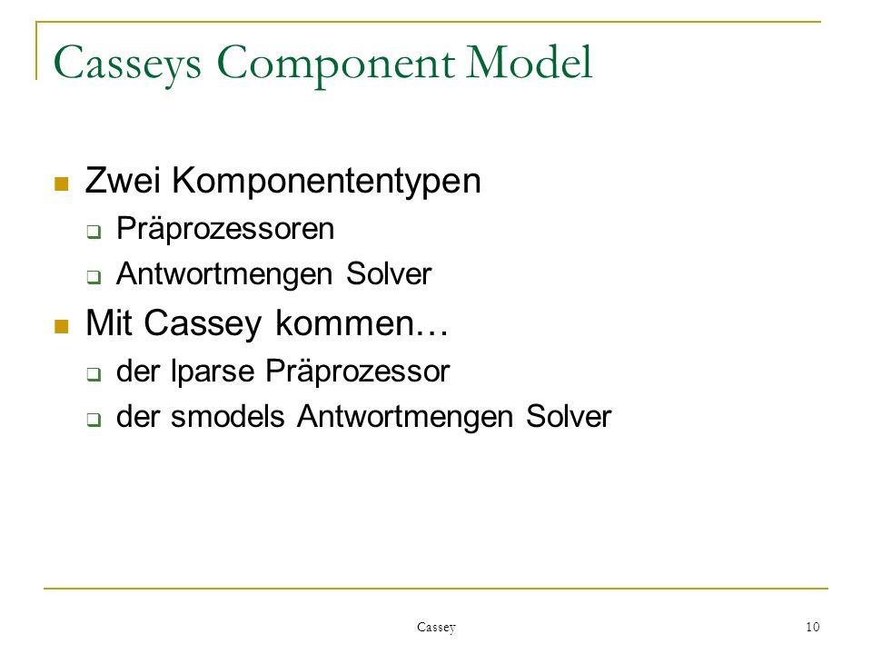 Cassey 10 Casseys Component Model Zwei Komponententypen Präprozessoren Antwortmengen Solver Mit Cassey kommen… der lparse Präprozessor der smodels Antwortmengen Solver