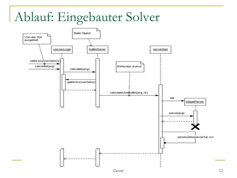 Cassey 12 Ablauf: Eingebauter Solver
