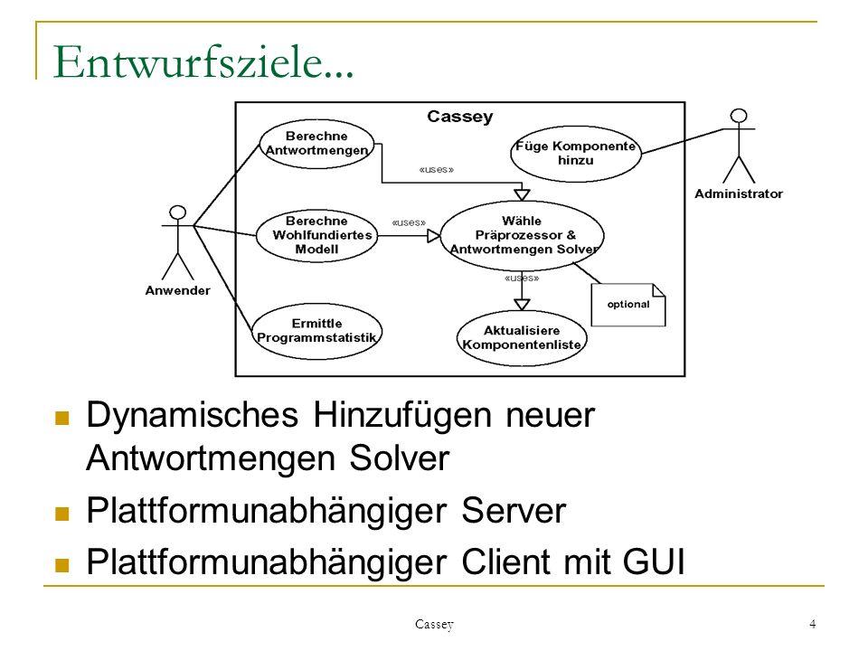 Cassey 4 Entwurfsziele... Dynamisches Hinzufügen neuer Antwortmengen Solver Plattformunabhängiger Server Plattformunabhängiger Client mit GUI