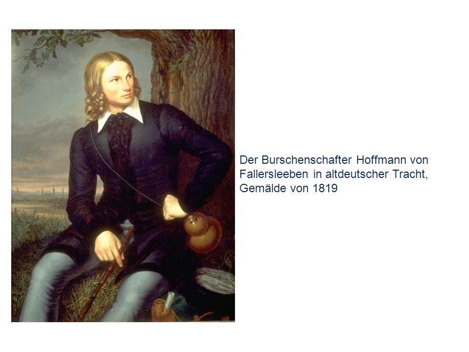 Der Burschenschafter Hoffmann von Fallersleeben in altdeutscher Tracht, Gemälde von 1819