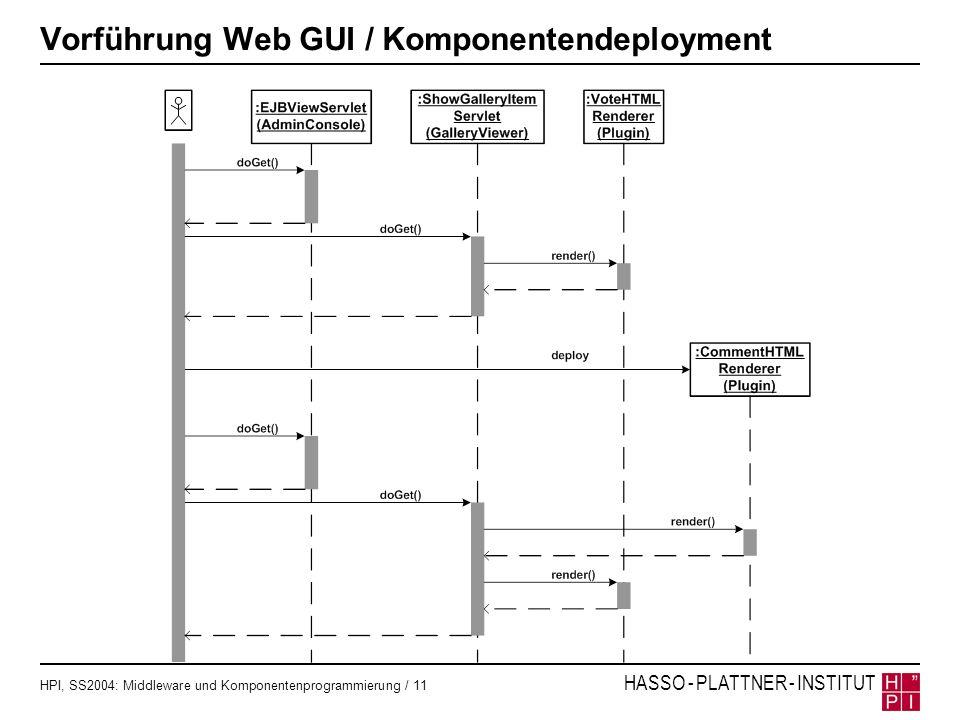 HPI, SS2004: Middleware und Komponentenprogrammierung / 11 HASSO - PLATTNER - INSTITUT Vorführung Web GUI / Komponentendeployment