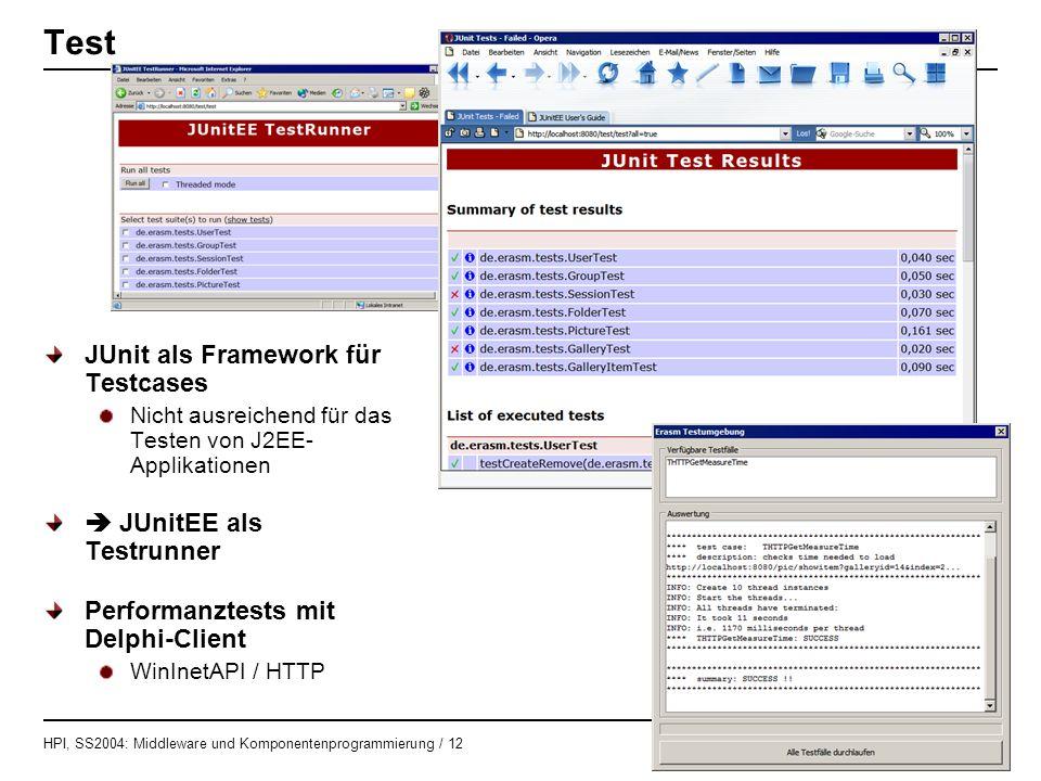 HPI, SS2004: Middleware und Komponentenprogrammierung / 12 HASSO - PLATTNER - INSTITUT Test JUnit als Framework für Testcases Nicht ausreichend für da