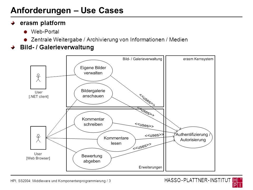 HPI, SS2004: Middleware und Komponentenprogrammierung / 3 HASSO - PLATTNER - INSTITUT Anforderungen – Use Cases erasm platform Web-Portal Zentrale Wei