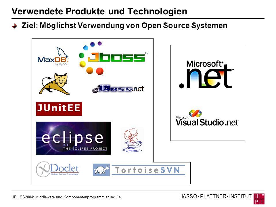 HPI, SS2004: Middleware und Komponentenprogrammierung / 15 HASSO - PLATTNER - INSTITUT Frameworkvergleich WebServices: jboss vs..NET Web Services mit JBoss Web Services mit.NET /** *@jboss-net web-service urn=ProviderWS */ public class ProviderBean implements SessionBean { [System.Web.Services.WebServiceBindingAttribute(Name= ProviderWSSoapBinding , Namespace= http://localhost:8080/jboss-net/services/ProviderWS )] public abstract class ProviderLocalService : System.Web.Services.WebService { [System.Web.Services.WebMethodAttribute()] [System.Web.Services.Protocols.SoapRpcMethodAttribute( ProviderWS , RequestNamespace= http://webservices.picture.erasm.de , ResponseNamespace= http://localhost:8080/jboss-net/services/ProviderWS )] [return: System.Xml.Serialization.SoapElementAttribute( loginReturn )] public abstract long login(string in0, string in1); /** *@ejb.interface-method view-type= local *@jboss-net.web-method */ public long login(String userName, String password) {