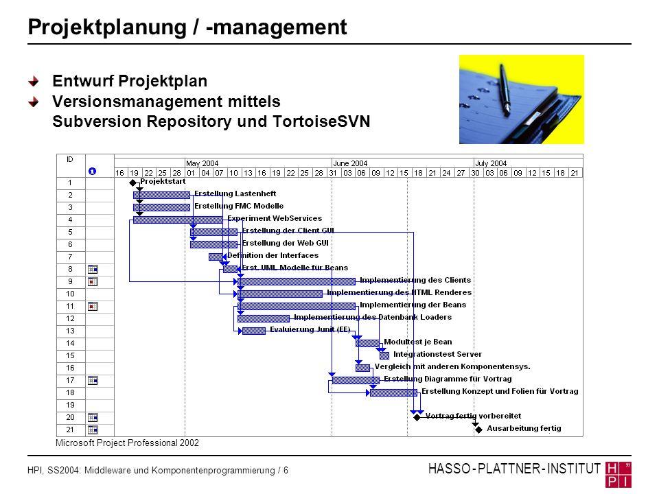 HPI, SS2004: Middleware und Komponentenprogrammierung / 6 HASSO - PLATTNER - INSTITUT Projektplanung / -management Entwurf Projektplan Versionsmanagem