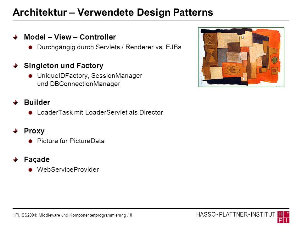 HPI, SS2004: Middleware und Komponentenprogrammierung / 8 HASSO - PLATTNER - INSTITUT Architektur – Verwendete Design Patterns Model – View – Controll