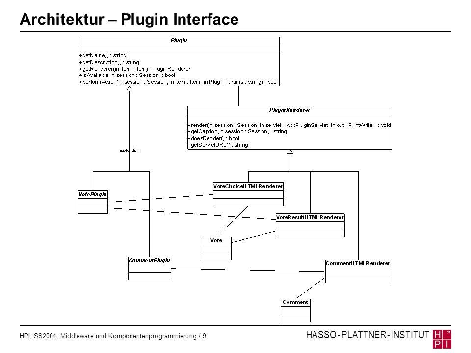 HPI, SS2004: Middleware und Komponentenprogrammierung / 10 HASSO - PLATTNER - INSTITUT Suchen von Plugins Suche aller verfügbaren Plugins erfolgt pro Anfrage