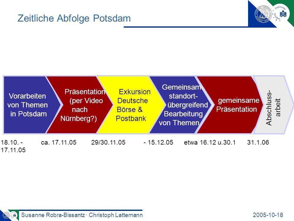 Susanne Robra-Bissantz · Christoph Lattemann2005-10-18 Zeitliche Abfolge Potsdam Vorarbeiten von Themen in Potsdam Gemeinsame, standort- übergreifend