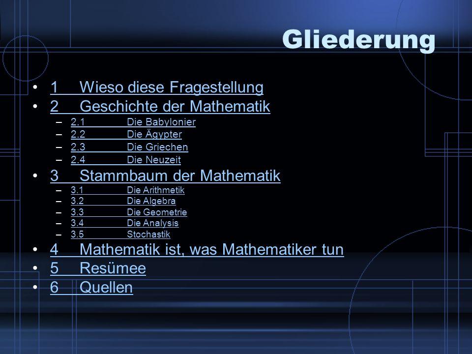Gliederung 1Wieso diese Fragestellung1Wieso diese Fragestellung 2Geschichte der Mathematik2Geschichte der Mathematik –2.1Die Babylonier2.1Die Babylonier –2.2Die Ägypter2.2Die Ägypter –2.3Die Griechen2.3Die Griechen –2.4Die Neuzeit2.4Die Neuzeit 3Stammbaum der Mathematik3Stammbaum der Mathematik –3.1Die Arithmetik3.1Die Arithmetik –3.2Die Algebra3.2Die Algebra –3.3Die Geometrie3.3Die Geometrie –3.4Die Analysis3.4Die Analysis –3.5Stochastik3.5Stochastik 4Mathematik ist, was Mathematiker tun4Mathematik ist, was Mathematiker tun 5Resümee5Resümee 6Quellen6Quellen
