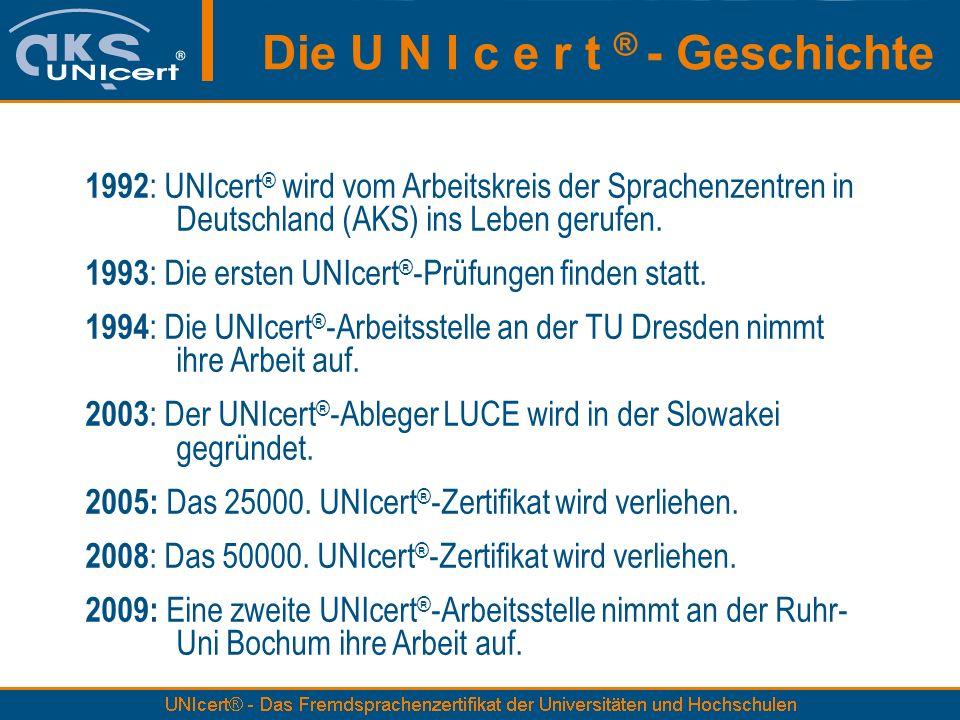 Die U N I c e r t ® - Geschichte 1992 : UNIcert ® wird vom Arbeitskreis der Sprachenzentren in Deutschland (AKS) ins Leben gerufen.