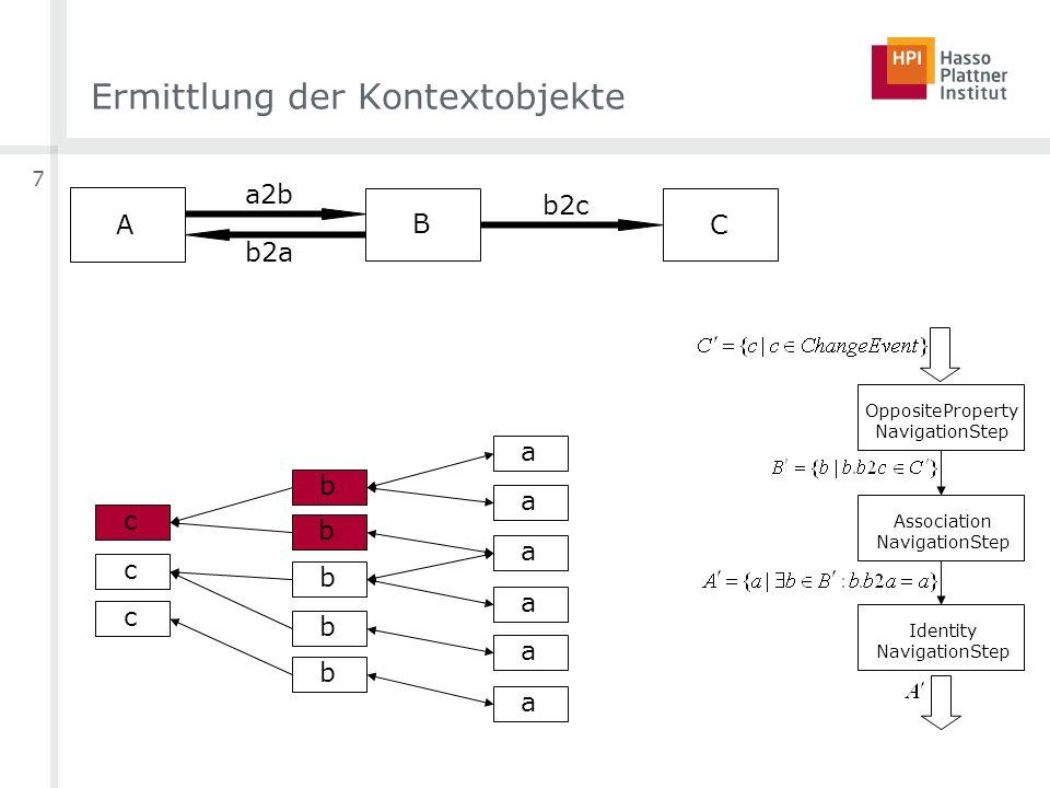 7 Ermittlung der Kontextobjekte OppositeProperty NavigationStep Association NavigationStep Identity NavigationStep c A B a2b b2a C b2c c c b b b b b a
