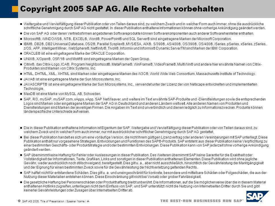 SAP AG 2005, Title of Presentation / Speaker Name / 10 Weitergabe und Vervielfältigung dieser Publikation oder von Teilen daraus sind, zu welchem Zweck und in welcher Form auch immer, ohne die ausdrückliche schriftliche Genehmigung durch SAP AG nicht gestattet.