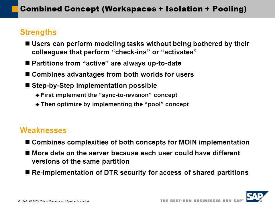 SAP AG 2005, Title of Presentation / Speaker Name / 8 Combined Concept (Workspaces + Isolation + Pooling) Strengths Users can perform modeling tasks w