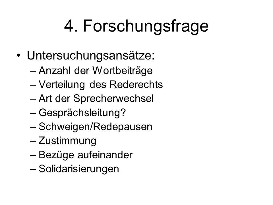 4. Forschungsfrage Untersuchungsansätze: –Anzahl der Wortbeiträge –Verteilung des Rederechts –Art der Sprecherwechsel –Gesprächsleitung? –Schweigen/Re