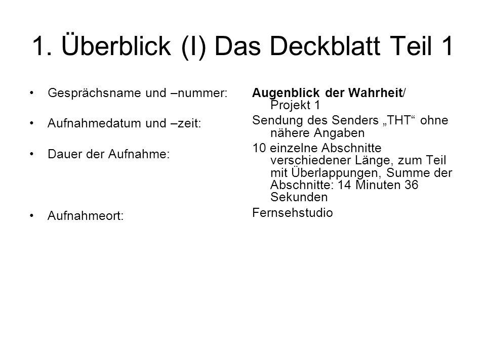 1. Überblick (I) Das Deckblatt Teil 1 Gesprächsname und –nummer: Aufnahmedatum und –zeit: Dauer der Aufnahme: Aufnahmeort: Augenblick der Wahrheit/ Pr