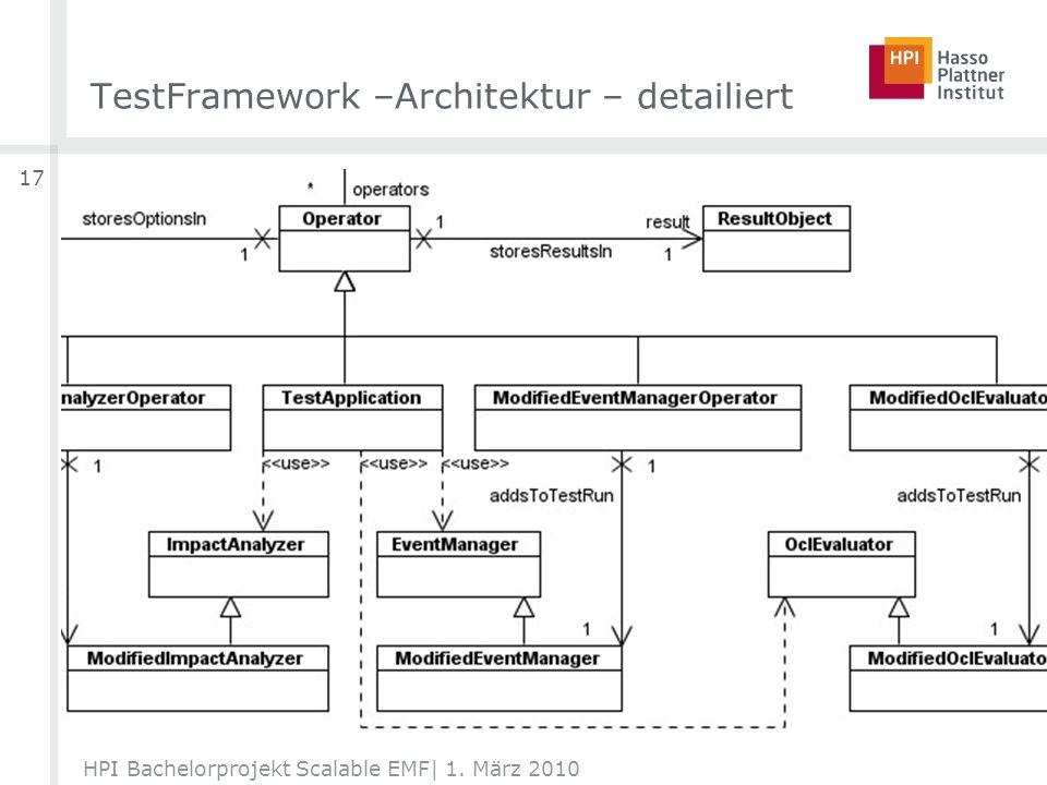 TestFramework –Architektur – detailiert HPI Bachelorprojekt Scalable EMF| 1. März 2010 17