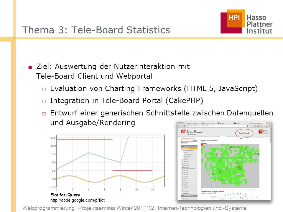 Webprogrammierung | Projektseminar Winter 2011/12 | Internet-Technologien und -Systeme Thema 3: Tele-Board Statistics Ziel: Auswertung der Nutzerinter
