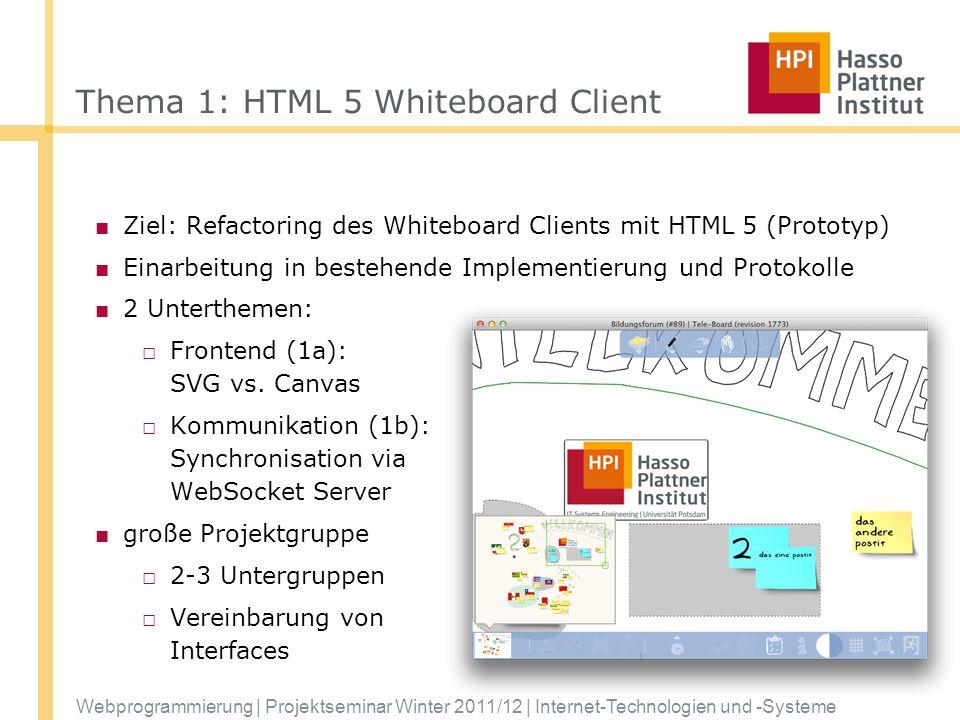 Webprogrammierung | Projektseminar Winter 2011/12 | Internet-Technologien und -Systeme Thema 1: HTML 5 Whiteboard Client Ziel: Refactoring des Whitebo