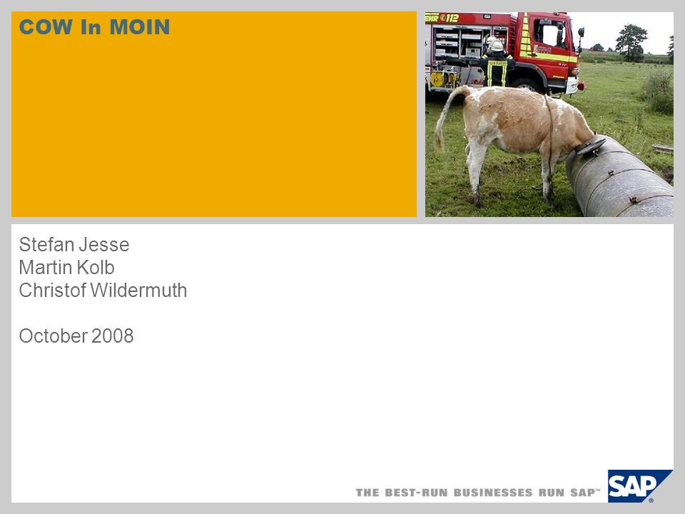 COW In MOIN Stefan Jesse Martin Kolb Christof Wildermuth October 2008