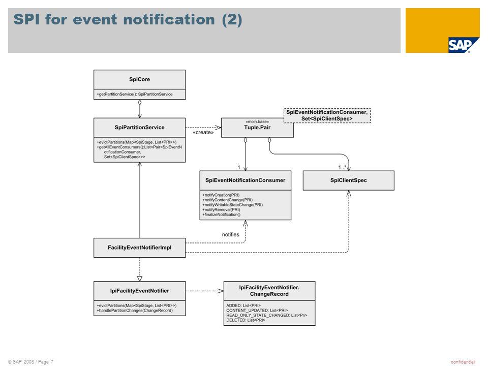 confidential© SAP 2008 / Page 8 Links Spi Design Visio: //TC/MOIN/doc/private/Design/Architecture/spi/SpiForPartitionEvents.vsd //TC/MOIN/doc/private/Design/Architecture/spi/SpiForPartitionEvents.vsd MOIN core docs on partition events: //TC/MOIN/doc/private/Design/Core/Events/...