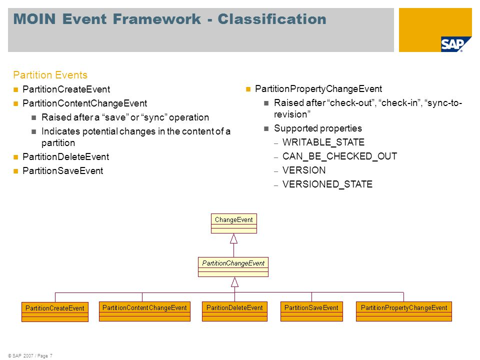 © SAP 2007 / Page 7 MOIN Event Framework - Classification Partition Events PartitionCreateEvent PartitionContentChangeEvent Raised after a save or sync operation Indicates potential changes in the content of a partition PartitionDeleteEvent PartitionSaveEvent PartitionPropertyChangeEvent Raised after check-out, check-in, sync-to- revision Supported properties – WRITABLE_STATE – CAN_BE_CHECKED_OUT – VERSION – VERSIONED_STATE