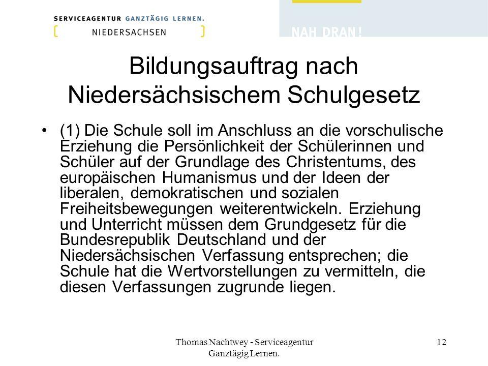 Thomas Nachtwey - Serviceagentur Ganztägig Lernen. 12 Bildungsauftrag nach Niedersächsischem Schulgesetz (1) Die Schule soll im Anschluss an die vorsc