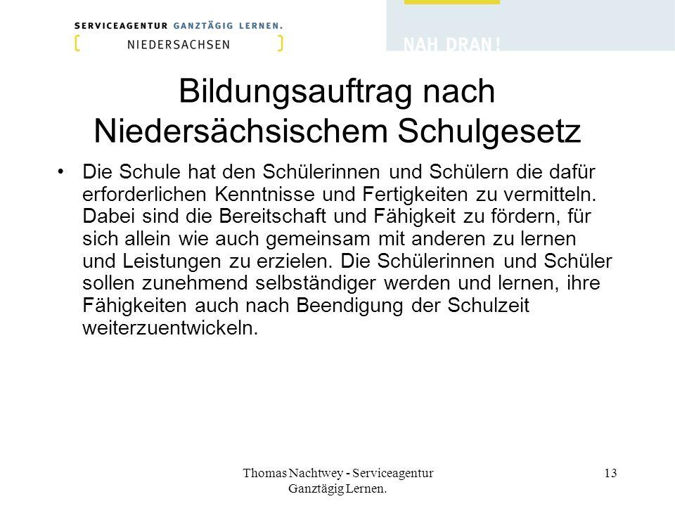 Thomas Nachtwey - Serviceagentur Ganztägig Lernen. 13 Bildungsauftrag nach Niedersächsischem Schulgesetz Die Schule hat den Schülerinnen und Schülern