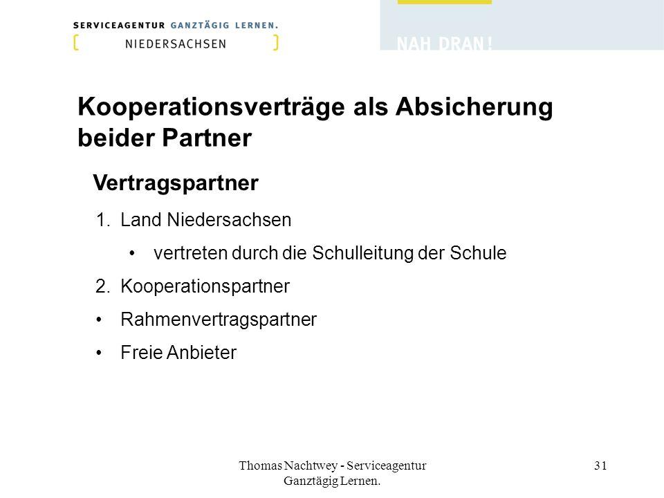 Thomas Nachtwey - Serviceagentur Ganztägig Lernen. 31 Kooperationsverträge als Absicherung beider Partner Vertragspartner 1.Land Niedersachsen vertret
