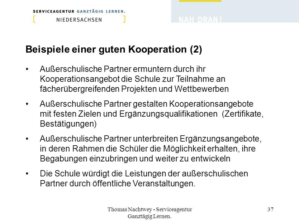 Thomas Nachtwey - Serviceagentur Ganztägig Lernen. 37 Beispiele einer guten Kooperation (2) Außerschulische Partner ermuntern durch ihr Kooperationsan