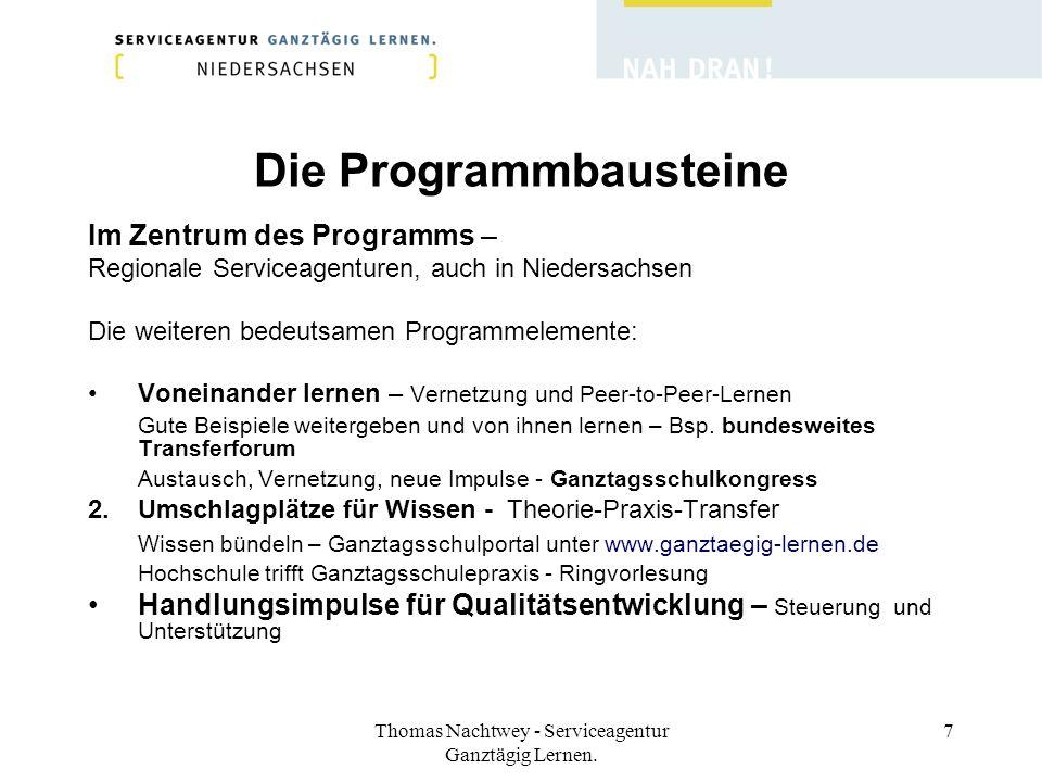 Thomas Nachtwey - Serviceagentur Ganztägig Lernen. 7 Die Programmbausteine Im Zentrum des Programms – Regionale Serviceagenturen, auch in Niedersachse