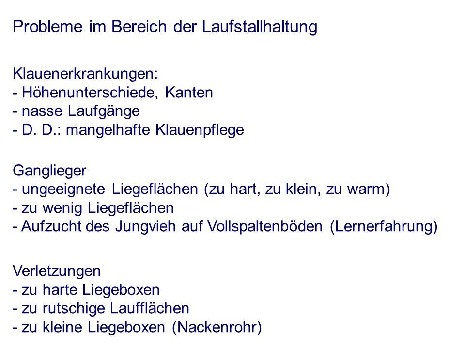 Probleme im Bereich der Laufstallhaltung Klauenerkrankungen: - Höhenunterschiede, Kanten - nasse Laufgänge - D.