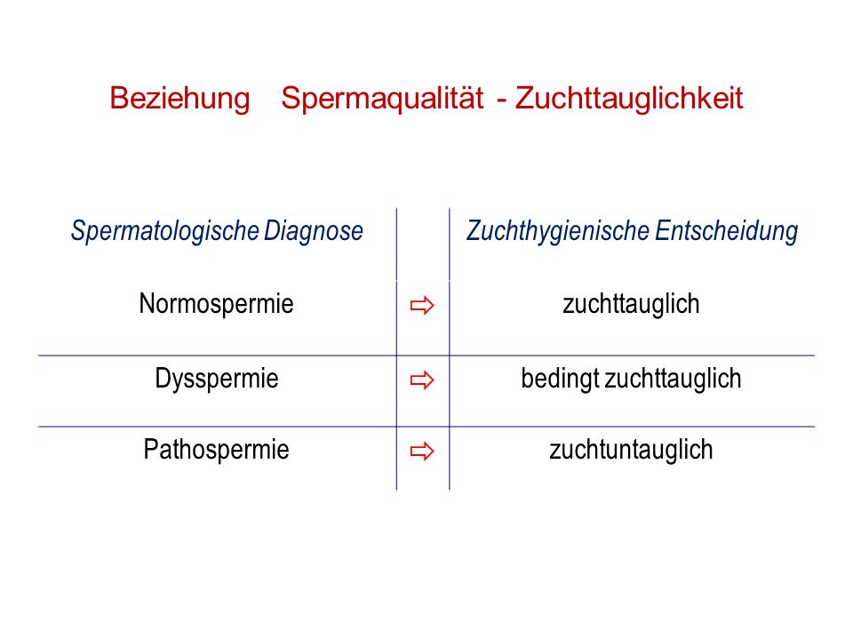 Beziehung Spermaqualität - Zuchttauglichkeit Spermatologische DiagnoseZuchthygienische Entscheidung Normospermie zuchttauglich Dysspermie bedingt zuch