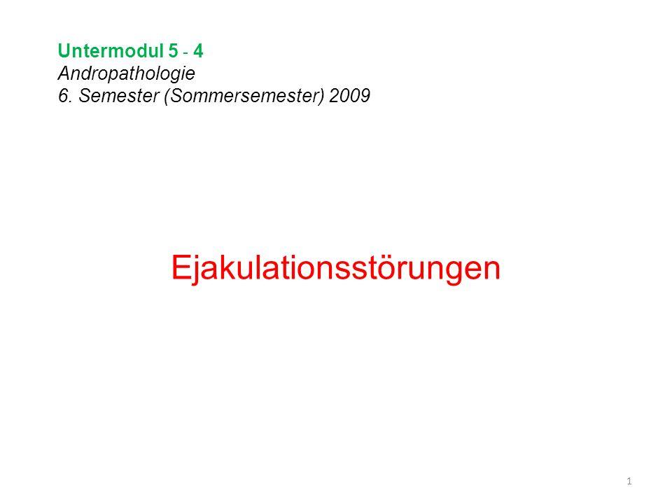 Untermodul 5 - 4 Andropathologie 6. Semester (Sommersemester) 2009 Ejakulationsstörungen 1