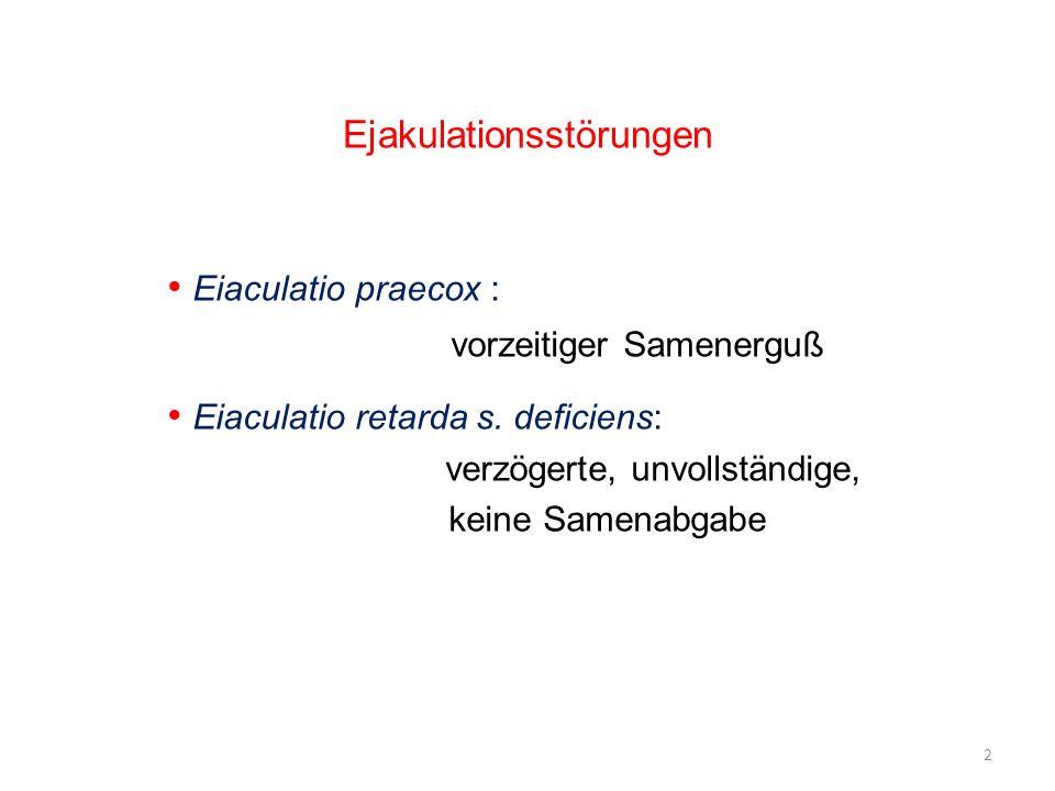 Eiaculatio praecox : vorzeitiger Samenerguß Eiaculatio retarda s. deficiens: verzögerte, unvollständige, keine Samenabgabe Ejakulationsstörungen 2